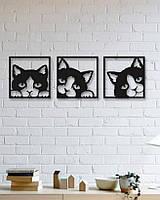 Декоративне металеве панно смугастий кіт ., фото 1