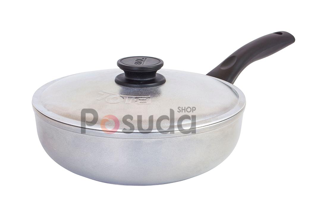 Сковорода алюминиевая глубокая с утолщенным дном Биол линия Блеск 24 см 2409БК