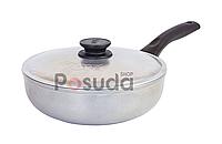 Сковорода алюминиевая глубокая с утолщенным дном Биол линия Блеск 24 см 2409БК, фото 1