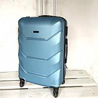 Чемодан Wings 147 из поликарбоната Малый S(45 литров) для ручной клади на 4-х колесах  Сильвер блу