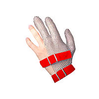 Профессиональная кольчужная перчатка трехпалая от порезов NIROFLEX FM PLUS размер M до запястья с ремешком