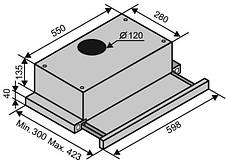 Витяжка Ventolux Garda 60 Inox (650) IT H Телескопічна Нержавіюча сталь, фото 3