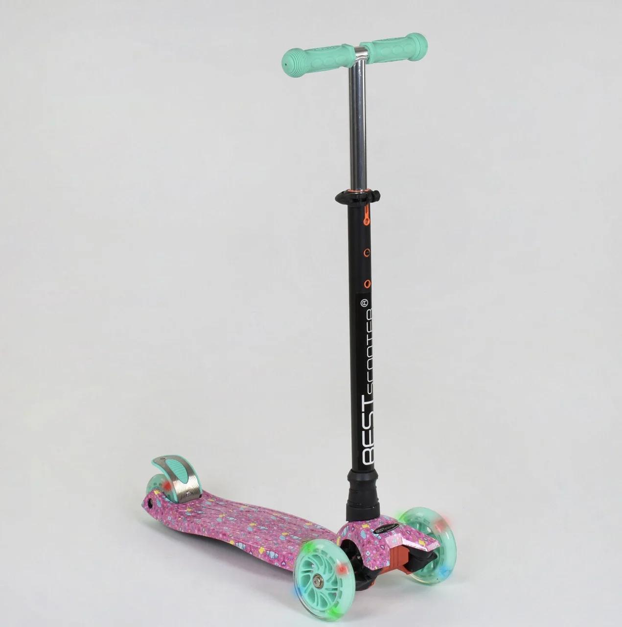 """Самокат А 25594 /779-1337 MAXI """"Best Scooter"""" пластмассовый, 4 колеса PU,свет,трубка руля алюминиевая, d=12 см"""