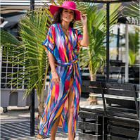 Туника пляжная женская шифоновая с ярким абстрактным рисунком, фото 1