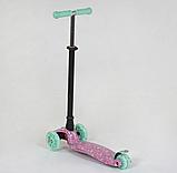 """Самокат А 25594 /779-1337 MAXI """"Best Scooter"""" пластмассовый, 4 колеса PU,свет,трубка руля алюминиевая, d=12 см, фото 2"""