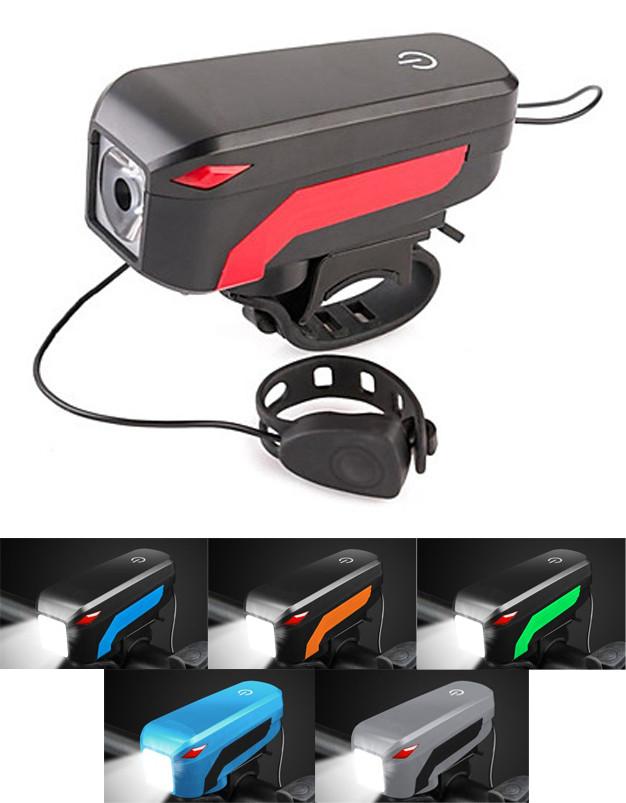 """Велофара + гудок """"2-в-1"""" CREE XM-L T6 / 350 лм / 130 Дб / 5 видов сигнала / выносная кнопка / 2000 мАч USB"""