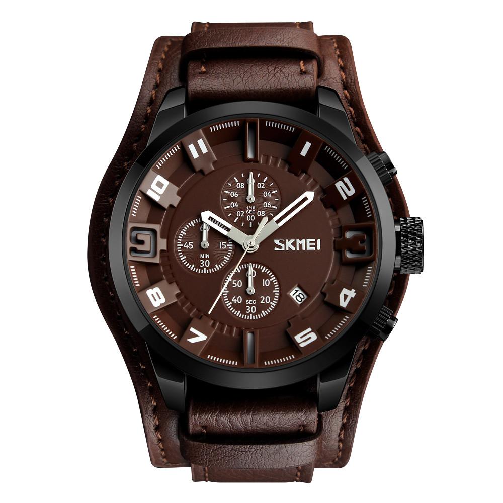 Skmei 9165 коричневые  мужские часы с коричневым дисплеем