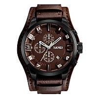 Skmei 9165 коричневые  мужские часы с коричневым дисплеем, фото 1