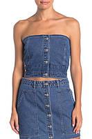 Эффектный джинсовый топ без бретелейKendall+Kylie