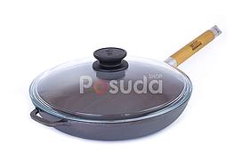 Сковорода чавунна Біол Оптима зі скляною кришкою 28 см 0128с