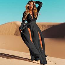 Шифонова літнє плаття-туніка в підлогу чорного кольору