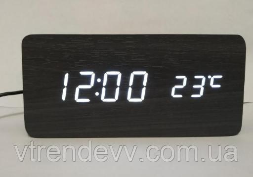 Часы электронные настольные с датчиком температуры LED VST-862 черные с белой подсветкой