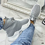 Кросівки жіночі сірі високі текстиль, фото 3
