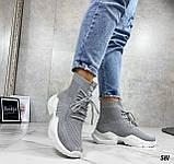 Кросівки жіночі сірі високі текстиль, фото 4