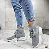 Кросівки жіночі сірі високі текстиль, фото 5