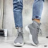 Кросівки жіночі сірі високі текстиль, фото 6