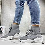 Кросівки жіночі сірі високі текстиль, фото 7