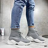 Кросівки жіночі сірі високі текстиль, фото 8
