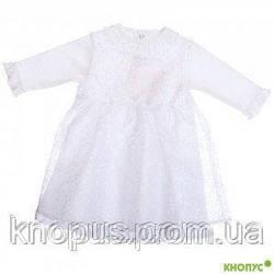 Платье для девочки  с кружевной накидкой, белое, Бемби, размер 74