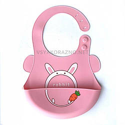 Детский слюнявчик нагрудник силиконовый с карманом - розовый Кролик