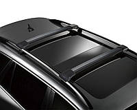 Багажник Рено Логан / Renault Logan 2013- черный на рейлинги Erkul
