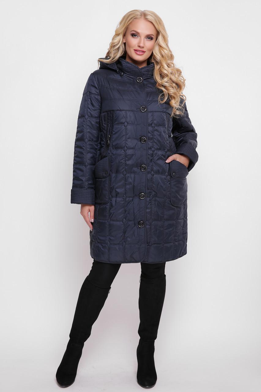 Куртка больших размеров женская Вера синяя до 66 размера