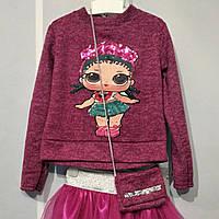 Детская кофта из ангоры с принтом LOL на девочку 98-116 от производителя. ОПТ