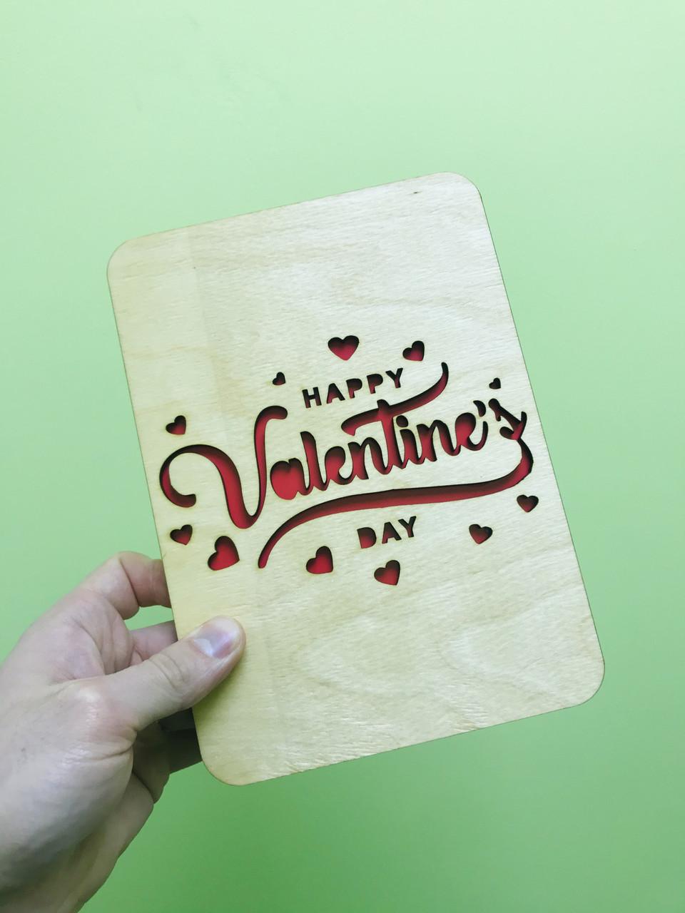Деревянная открытка на День святого Валентина 14 февраля CraftBoxUA