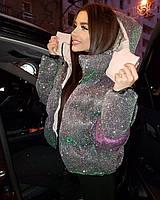Женская блестящая курточка с капюшоном