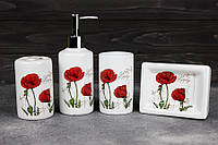 Набор аксессуаров для ванной Stenson R22342 Маки 4 предмета