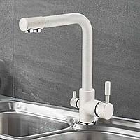 Змішувач для кухні з підключенням до фільтру SANTEP 8877W Молочний матовий, фото 1