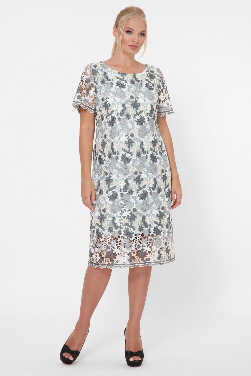 Женское нарядное платье из ирландского кружева- макраме 52-54