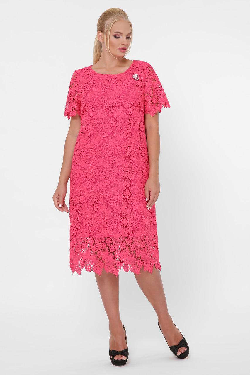 Нарядное женское кружевное платье кораллового цвета с 52 по 58 размер