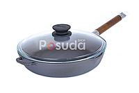 Сковорода чугунная Биол со съемной ручкой и стеклянной крышкой 24 см 1224с, фото 1