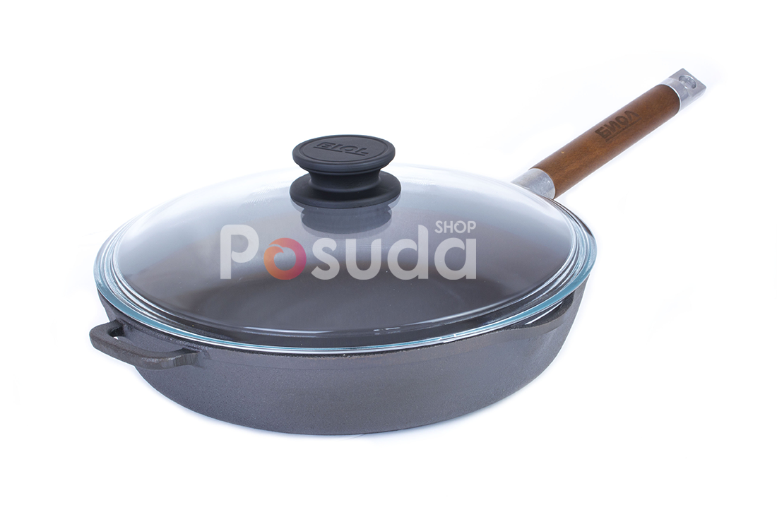 Сковорода чугунная Биол со съемной ручкой и стеклянной крышкой 28 см 1228с