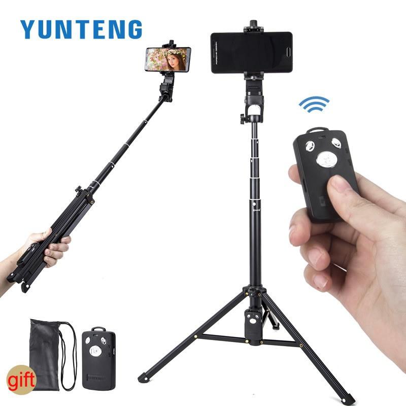 Универсальный телескопический штатив монопод для камеры и телефона с пультом Yunteng VCT1688 + чехол