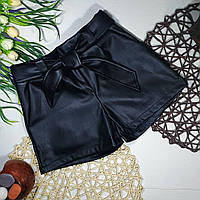 Модные шорты экокожа для девочки (134,140р)