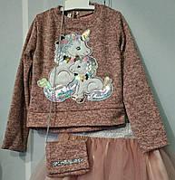 Детская кофта из ангоры с принтом  Единорог для девочки 98-116 от производителя. ОПТ