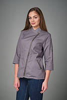 Женская однотонная куртка-китель для повара, фото 2