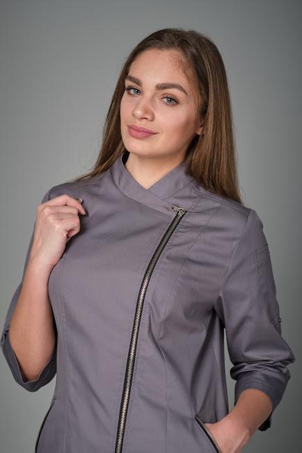 Женская однотонная куртка-китель для повара