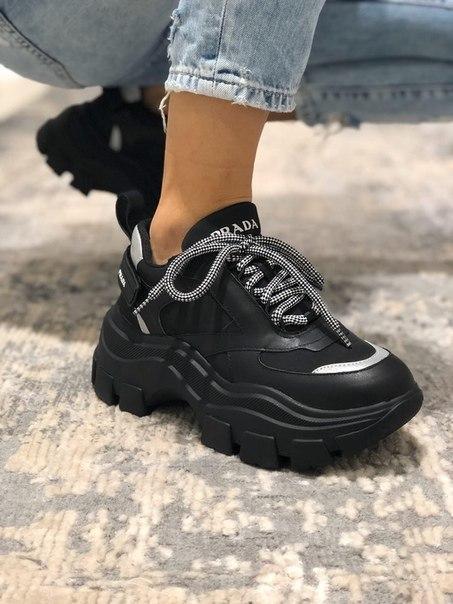 Черные женские кроссовки Prada Chunky с рефлективом