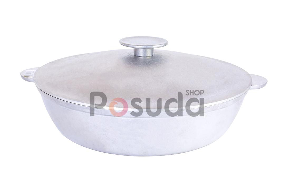 Сковорода жаровня Биол алюминиевая с крышкой 36 см А363