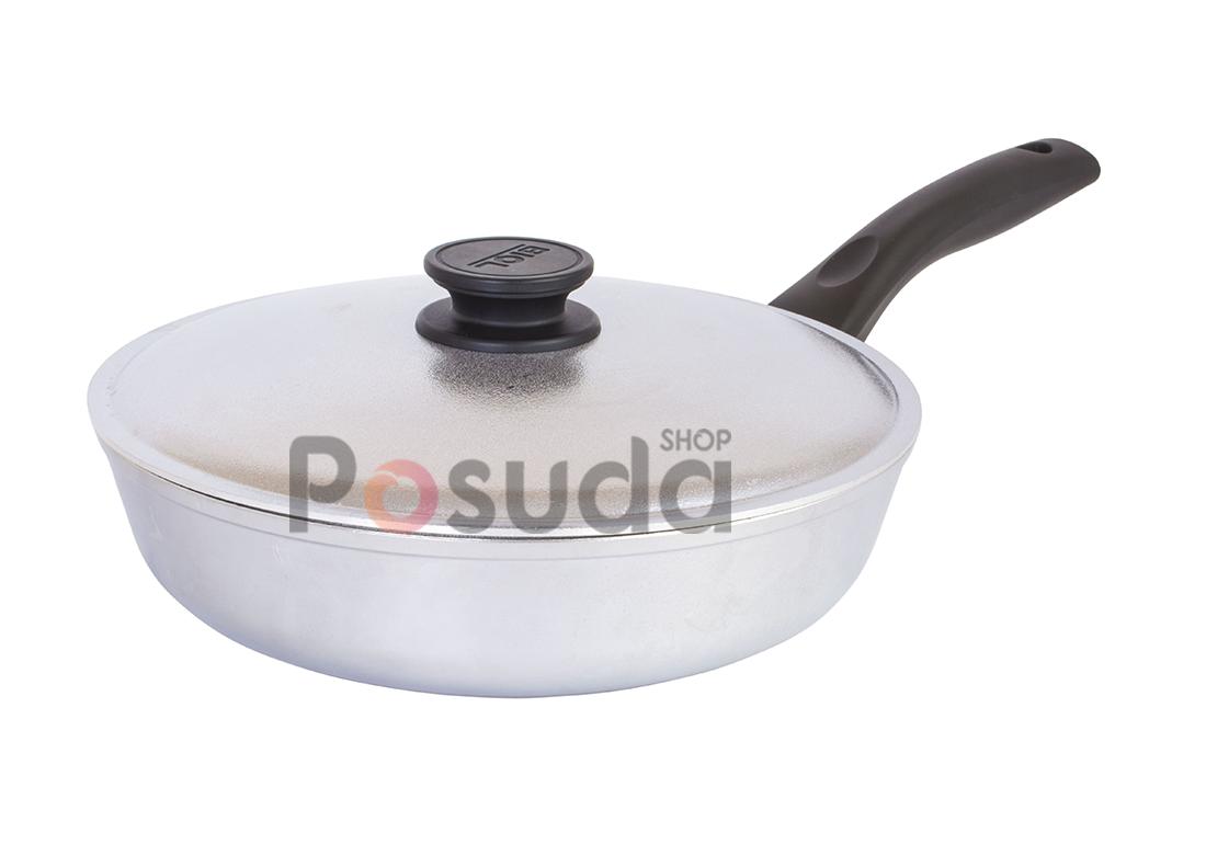 Сковорода высокая алюминиевая Блеск Биол с утолщенным дном 26 см 2607БК
