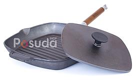 Сковорода гриль з кришкою чавунна пресом Біол 28 см 10281