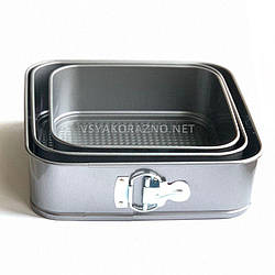Форма для торта - набор разъемных форм для выпечки (3 шт) Квадрат / Набір роз'ємних форм для випічки