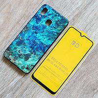 Комплект чехол Malachite и стекло Full Glue для Samsung Galaxy A30 (SM-A305) (сине-зеленый)