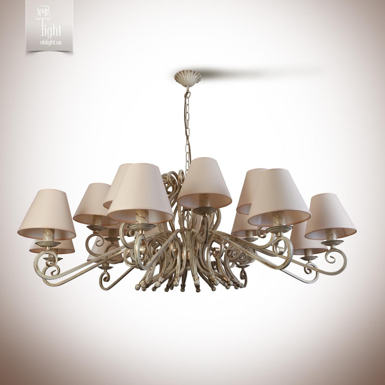Большая люстра для зала, холла на 18 лампочек с абажурами 9366