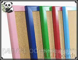 """Пробкова дошка 90х60см в рожевій дерев'яній рамі TM """"ALL boards"""""""