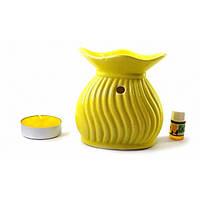 Аромалампа керамическая желтая подарочный набор (15х11х6 см) ( 32780E)