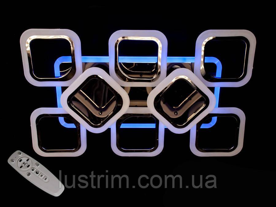 Потолочная люстра с диммером и LED подсветкой, цвет чёрный хром, 115W